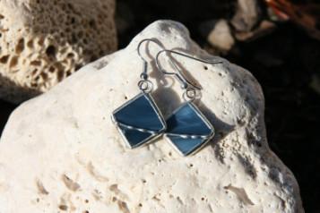 Náušnice čtvercové a notičky - Tiffany šperky