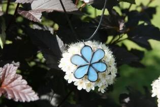 Kytička modrá s patinou - Tiffany šperky