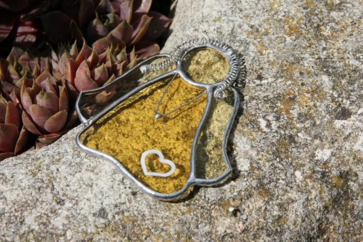 Andělka copatá srdíčková - Tiffany šperky