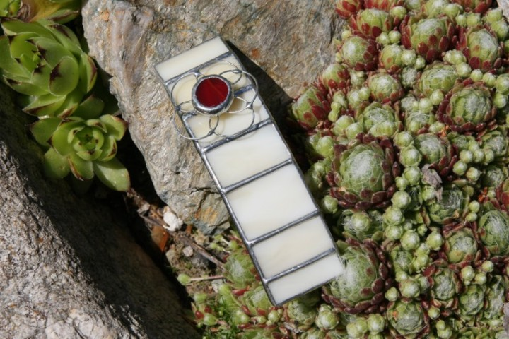 Spona béžová s kytičkou - Tiffany šperky