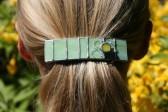 Spona zelená s kytičkou - Tiffany šperky