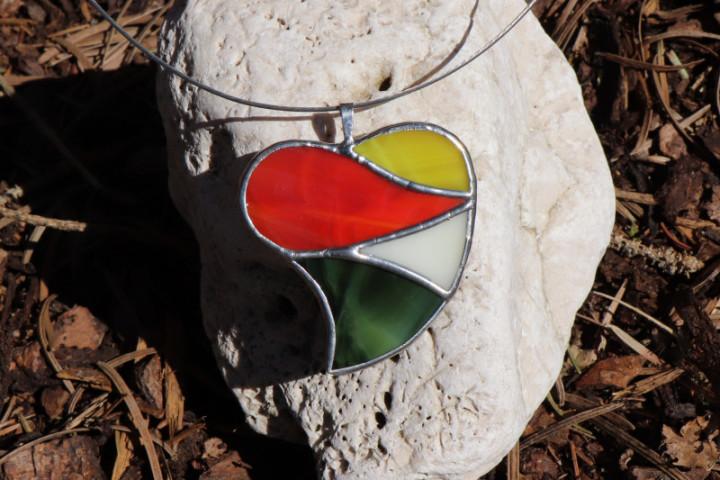 Srdce velké barevné - Tiffany šperky