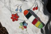 Náušnice červené malé - Tiffany šperky