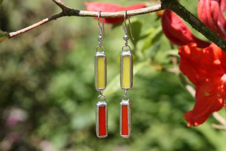 Náušnice červeno-žluté - Tiffany šperky