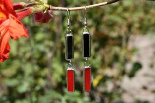 Náušnice černo-červené - Tiffany šperky