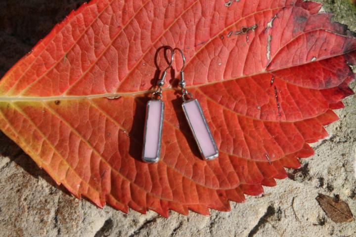 Náušnice růžové střední - Tiffany šperky