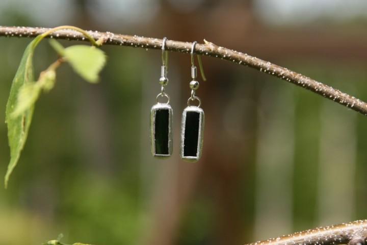 Náušnice tmavě zelené malé - Tiffany šperky