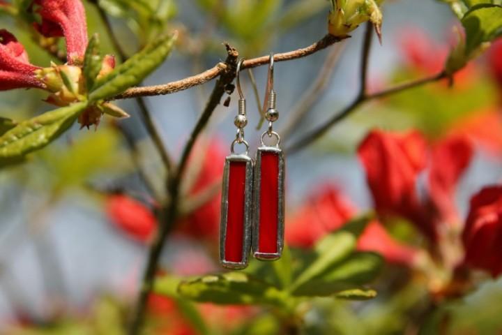 Náušnice červené střední - Tiffany šperky