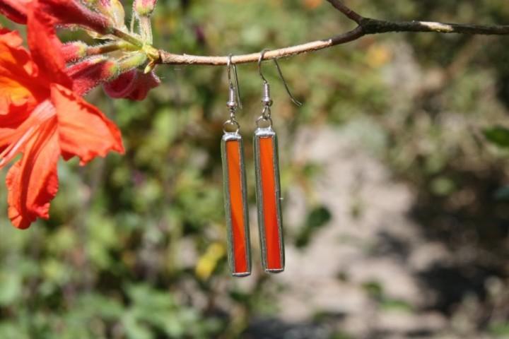 Náušnice červené dlouhé - Tiffany šperky