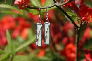 Náušnice béžové dlouhé zdobené - Tiffany šperky