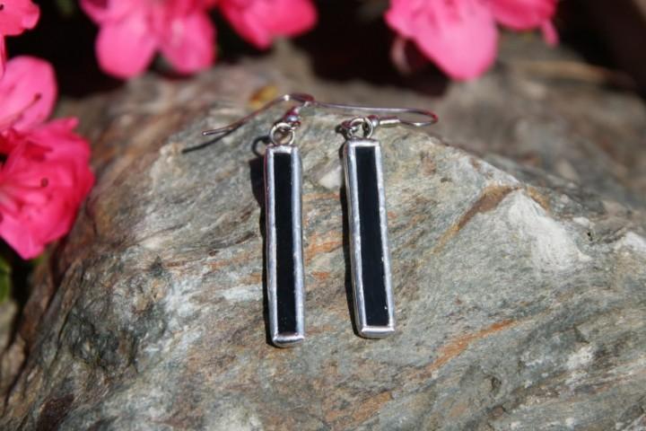 Náušnice černé dlouhé - Tiffany šperky