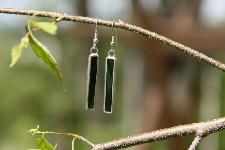 Náušnice tmavě zelené dlouhé - Tiffany šperky