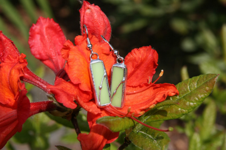 Náušnice zelené zdobené - Tiffany šperky