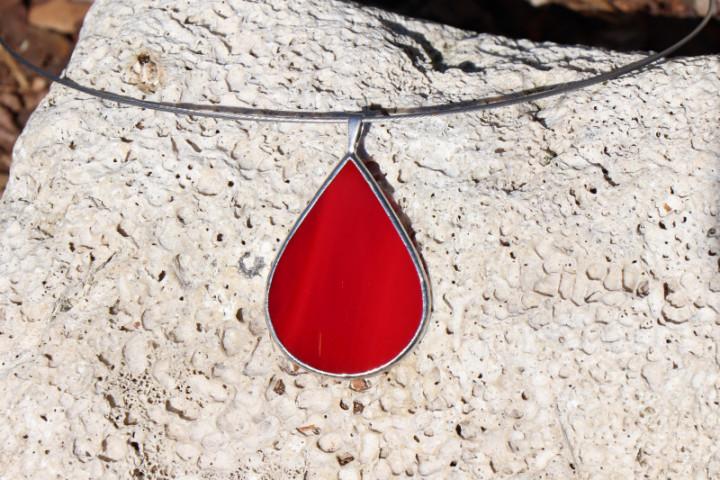 Šperk - kapka červená - Tiffany šperky