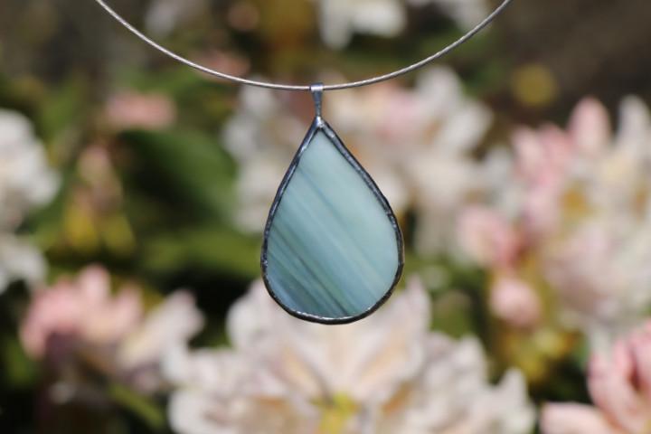Šperk - kapka zelenobílá - Tiffany šperky