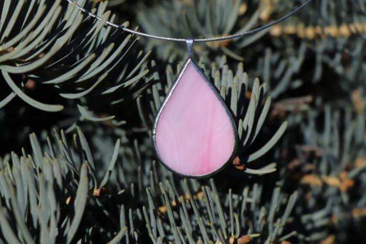 Šperk - kapka růžová - Tiffany šperky