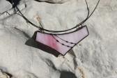 Náhrdelník velký růžový černě zdobený - Tiffany šperky