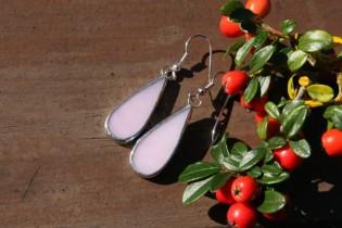 Náušnice kapky růžové dlouhé - Tiffany šperky