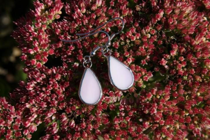Náušnice kapky růžové - Tiffany šperky