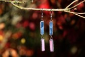 Náušnice modro-růžové - Tiffany šperky