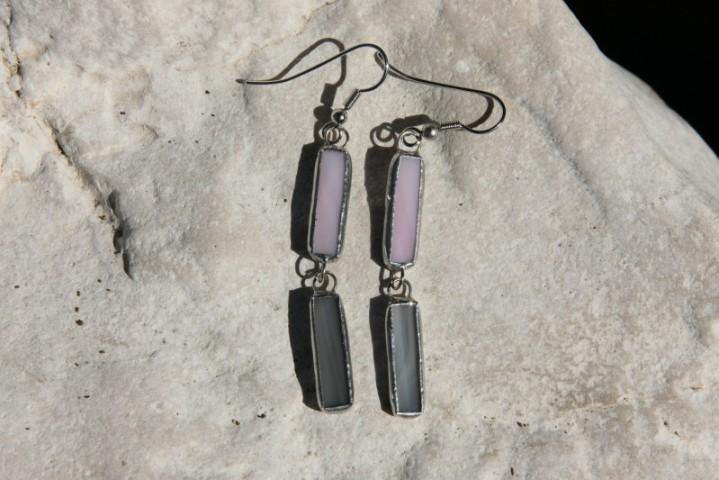 Náušnice šedo-růžové - Tiffany šperky