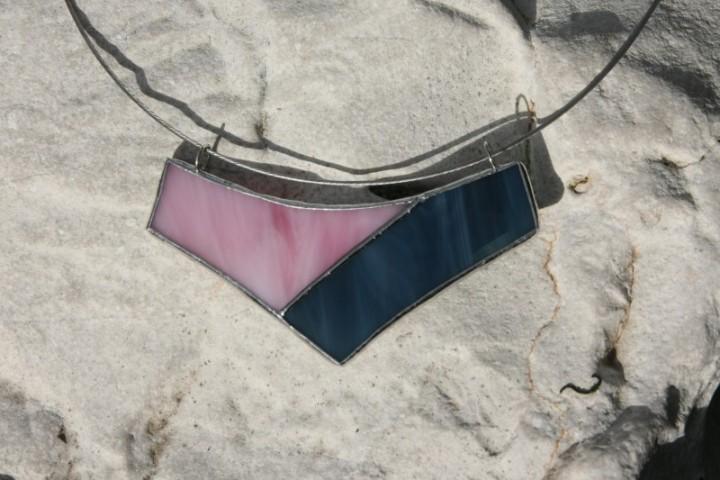 Náhrdelník modro-růžový - Tiffany šperky