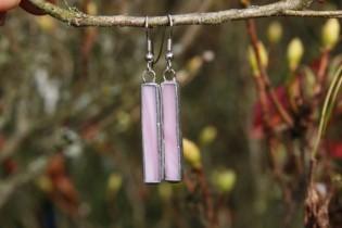 Náušnice růžové dlouhé - Tiffany šperky