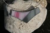Náhrdelník šedo-růžový - Tiffany šperky