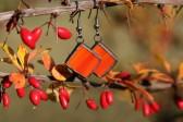 Náušnice červenooranžové s patinou - Tiffany šperky