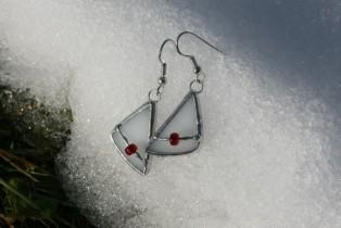 Náušnice bílé s korálkem - Tiffany šperky