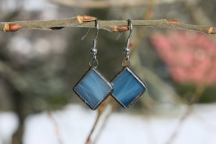Náušnice barvy moře s patinou - Tiffany šperky