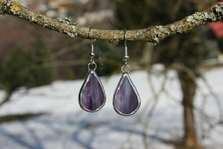 Náušnice fialové buclaté - Tiffany šperky