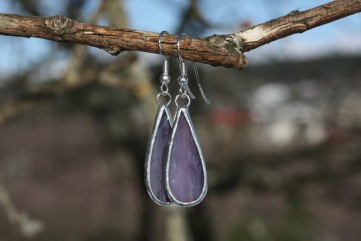 Náušnice kapky fialové dlouhé - Tiffany šperky