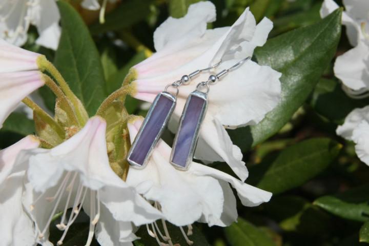 Náušnice fialové střední - Tiffany šperky