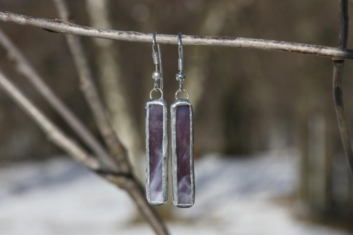 Náušnice fialové dlouhé - Tiffany šperky