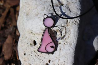 Kočka růžová - Tiffany šperky