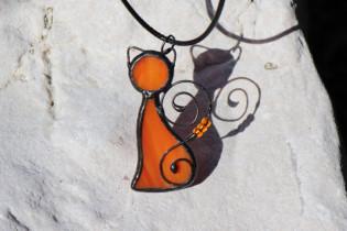 Kočka oranžová - Tiffany šperky