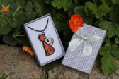 Kočka oranžová v dárkové krabičce - Tiffany šperky