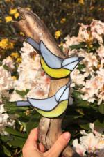 Sýkorky- dekorace na dřevě - Tiffany šperky