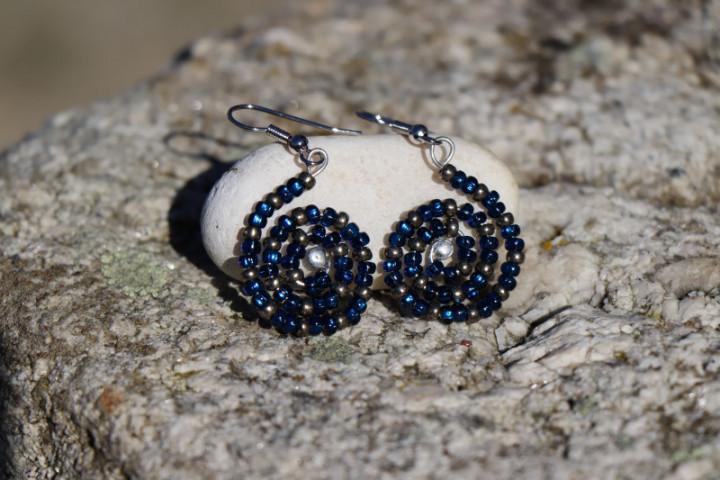 Modré náušnice - spirálka - Tiffany šperky
