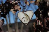 Béžové srdce v hnědé patině - Tiffany šperky