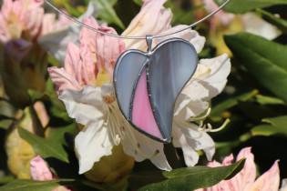 Šedo-růžové srdíčko - Tiffany šperky