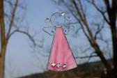 Andílek s kytičkami růžový větší - Tiffany šperky