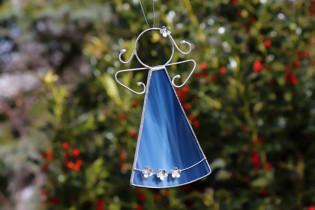 Andílek s kytičkami modrý větší - Tiffany šperky